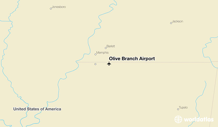 Olive Branch Airport location on a map