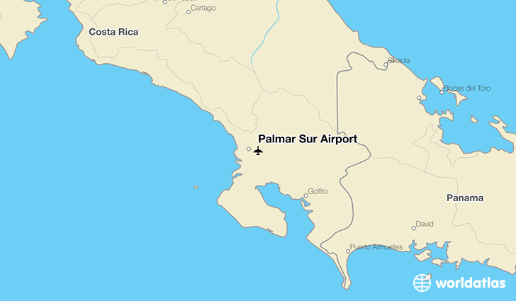 Palmar Sur Airport location on a map