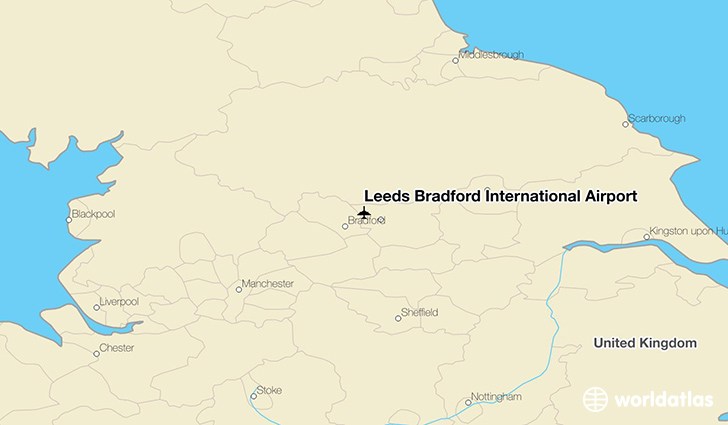 Leeds Bradford International Airport location on a map