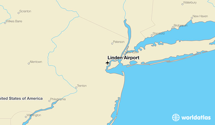 Linden Airport location on a map