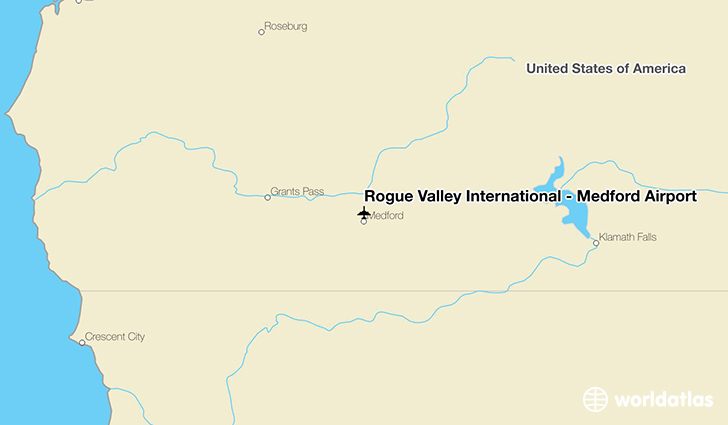 Rogue Valley International - Medford Airport location on a map