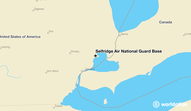 Selfridge Air National Guard Base location on a map