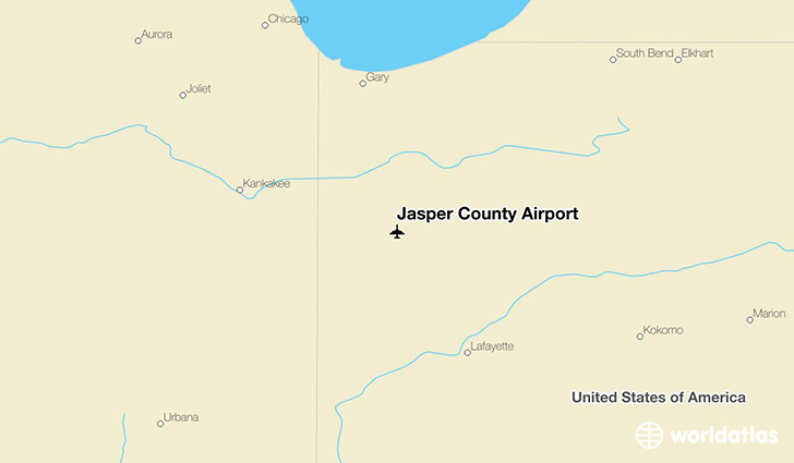 Jasper County Airport location on a map