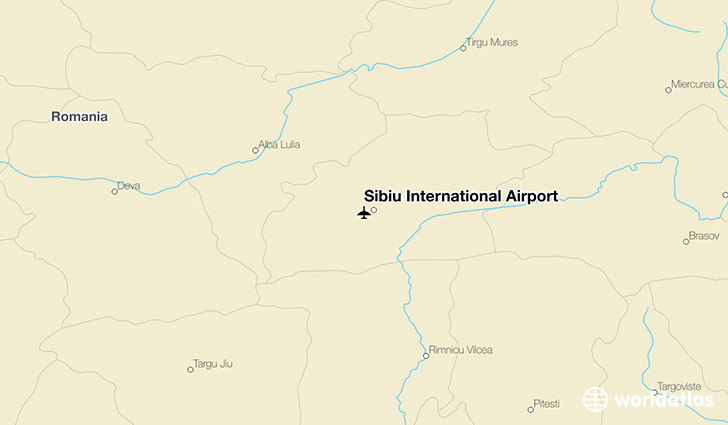 Sibiu International Airport location on a map