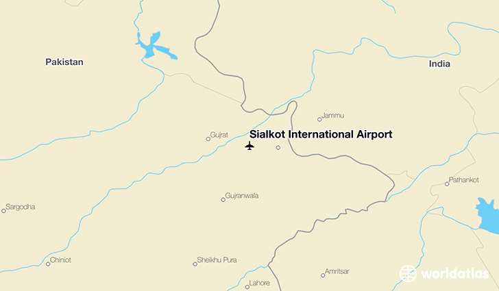 Sialkot International Airport location on a map