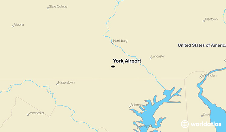 York Airport location on a map