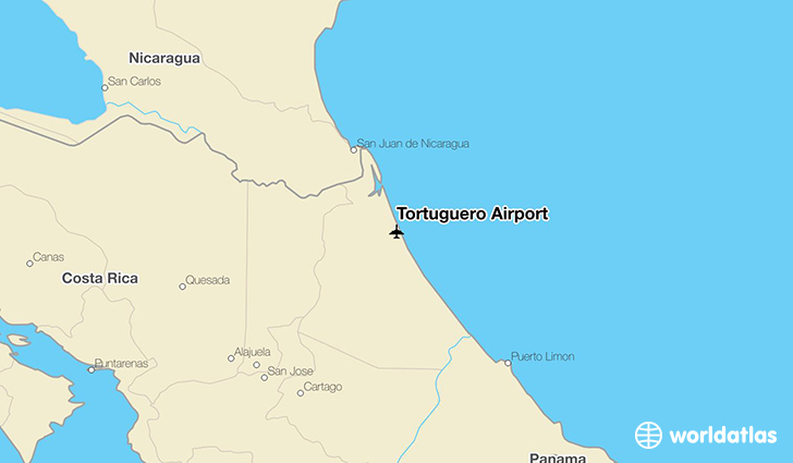 Tortuguero Airport location on a map