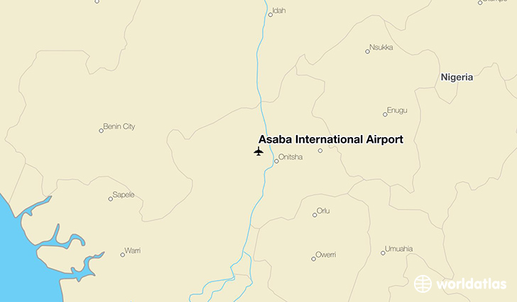 Asaba International Airport location on a map
