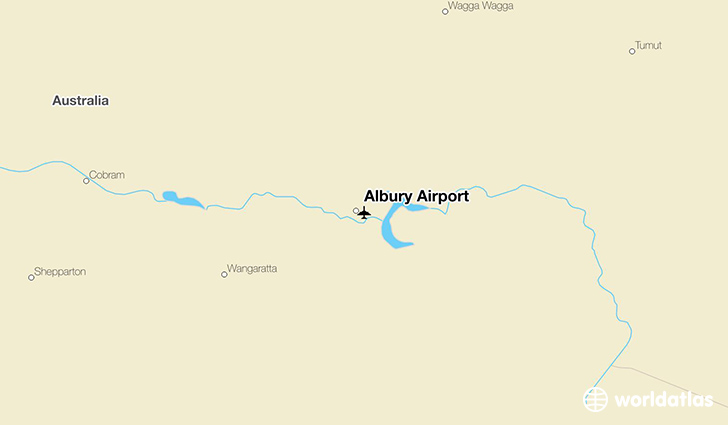 Albury Airport location on a map