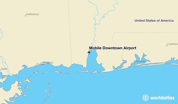 Mobile Downtown Airport location on a map