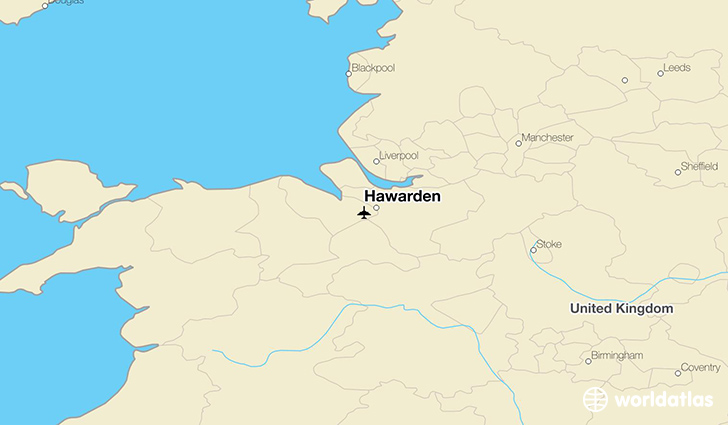 Hawarden location on a map