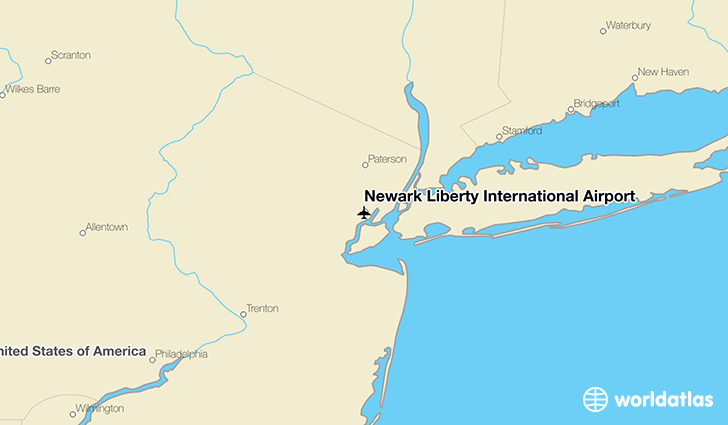 Newark Liberty International Airport location on a map