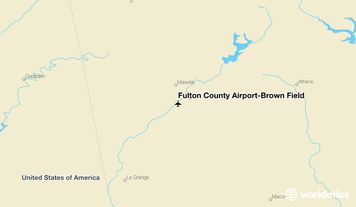 Fulton County Airport-Brown Field location on a map