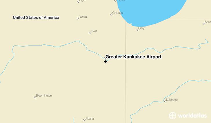 Greater Kankakee Airport location on a map