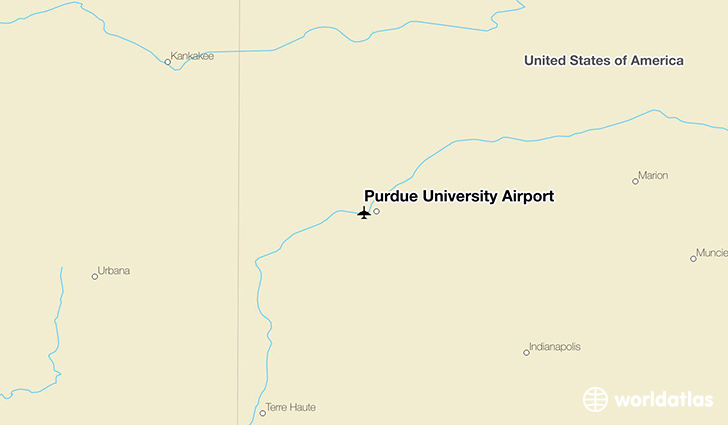 Purdue University Airport location on a map