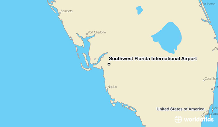 Southwest Florida International Airport location on a map