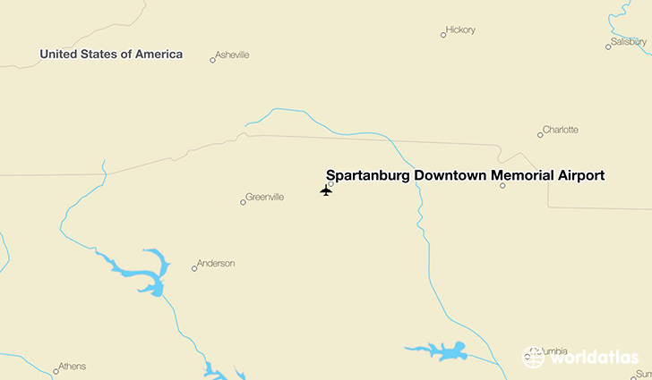 Spartanburg Downtown Memorial Airport location on a map