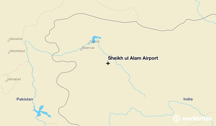 Sheikh ul Alam Airport location on a map
