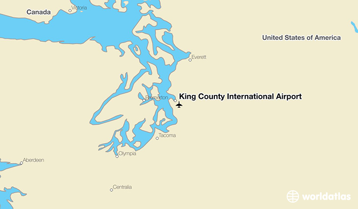 King County International Airport location on a map