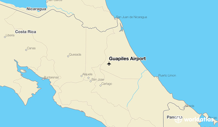 Guapiles Airport location on a map