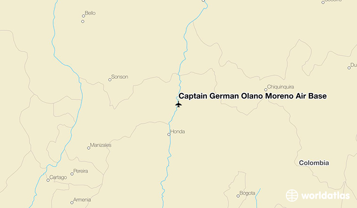 Captain Germán Olano Moreno Air Base location on a map