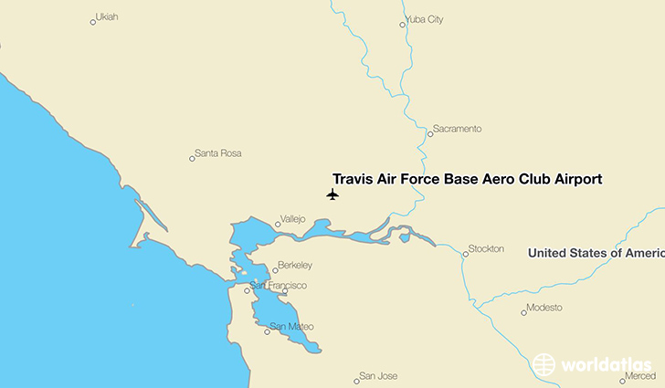 Travis Air Force Base Aero Club Airport location on a map