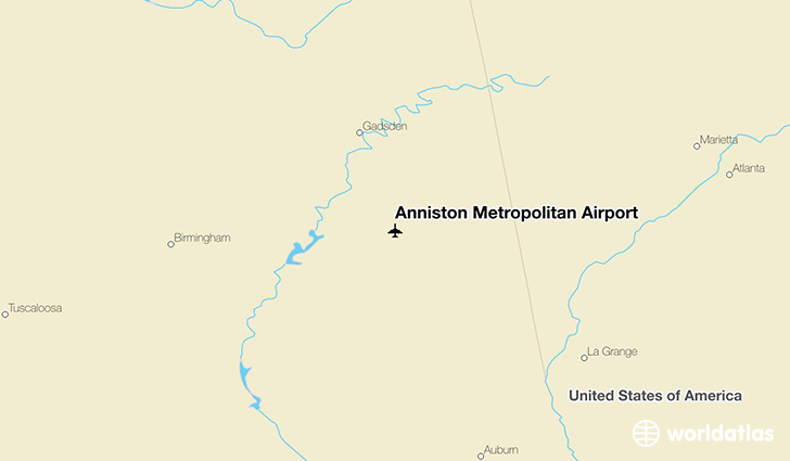 Anniston Metropolitan Airport location on a map