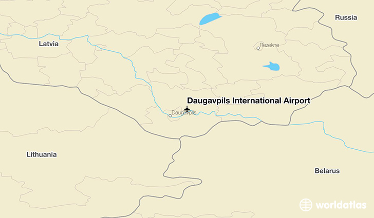 Daugavpils International Airport location on a map