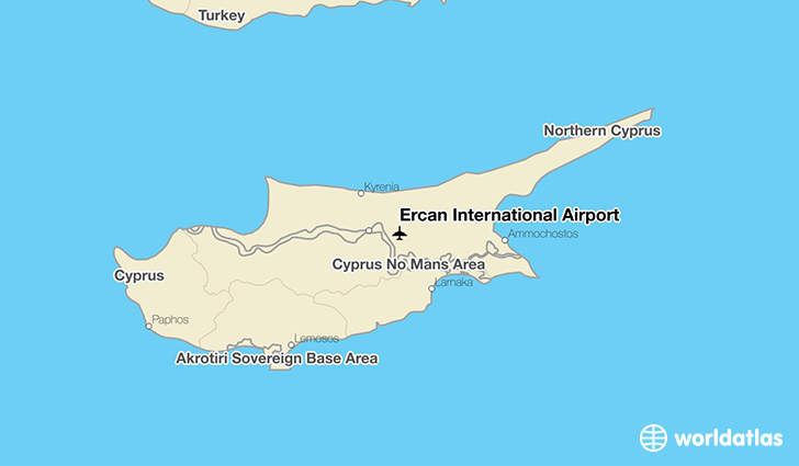 Ercan International Airport location on a map
