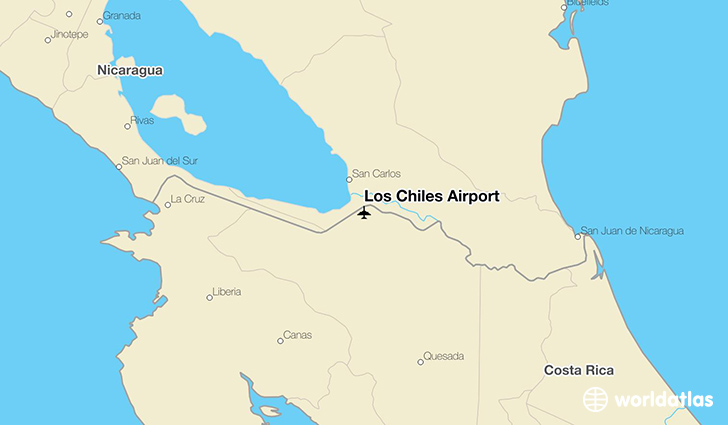 Los Chiles Airport location on a map