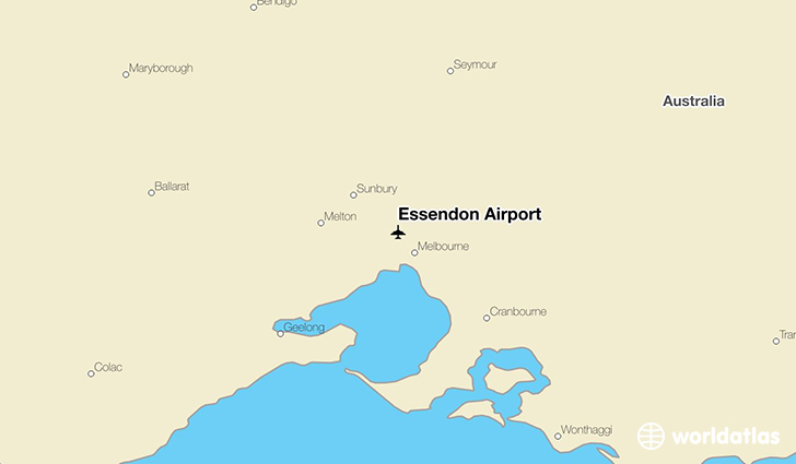 Essendon Airport location on a map