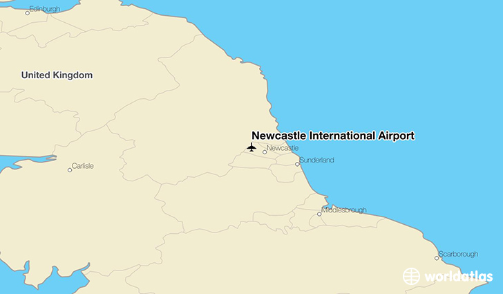 Newcastle International Airport location on a map