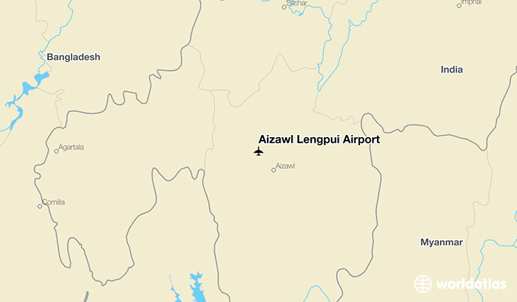 Aizawl Lengpui Airport location on a map