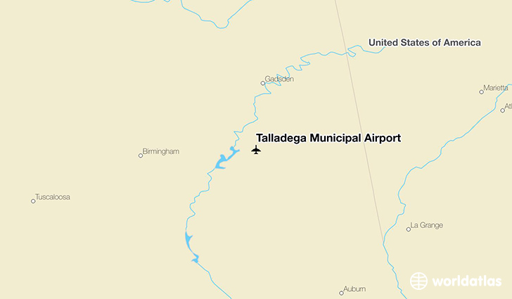 Talladega Municipal Airport location on a map
