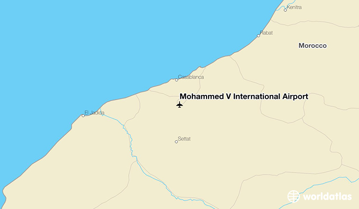 Mohammed V International Airport location on a map