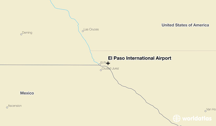 El Paso International Airport location on a map