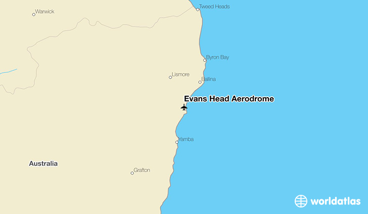 Evans Head Aerodrome location on a map