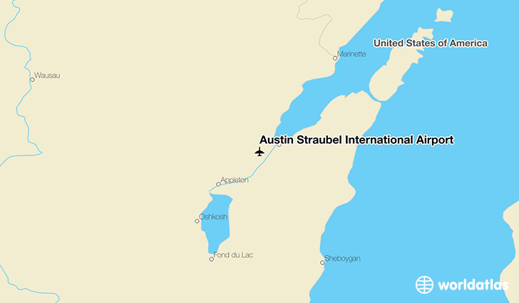 Austin Straubel International Airport location on a map
