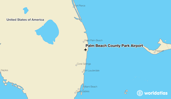 Palm Beach County Park Airport location on a map