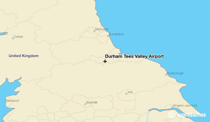 Durham Tees Valley Airport location on a map