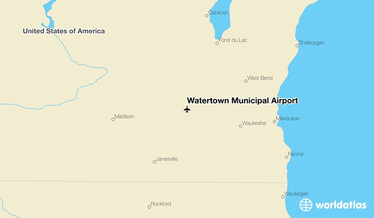 Watertown Municipal Airport location on a map