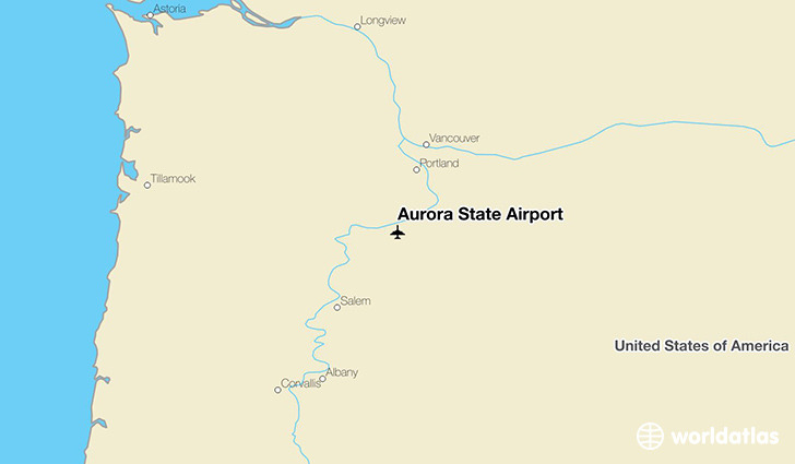 Aurora State Airport location on a map