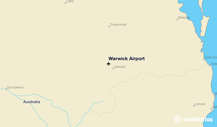 Warwick Airport location on a map