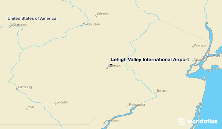 Lehigh Valley International Airport location on a map
