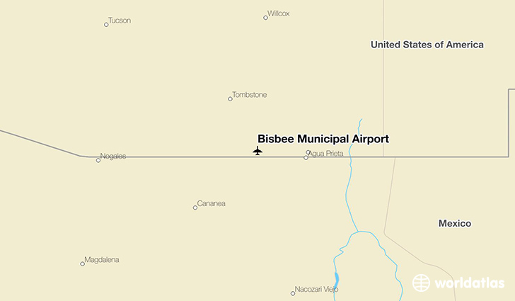Bisbee Municipal Airport location on a map