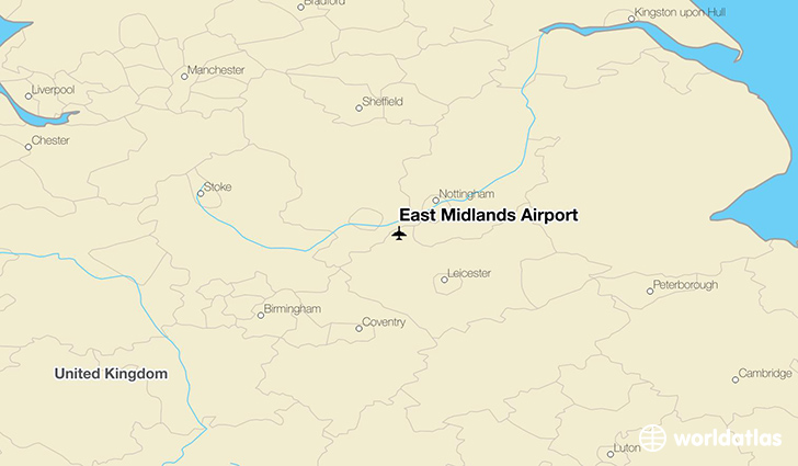 East Midlands Airport location on a map