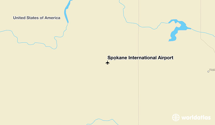 Spokane International Airport location on a map