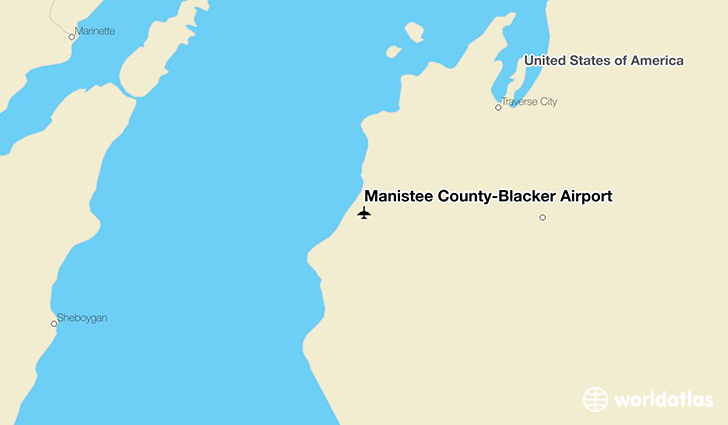 Manistee County-Blacker Airport location on a map