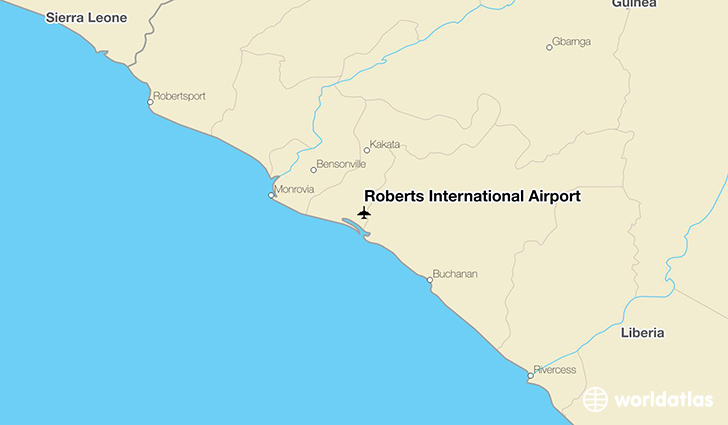 Roberts International Airport location on a map