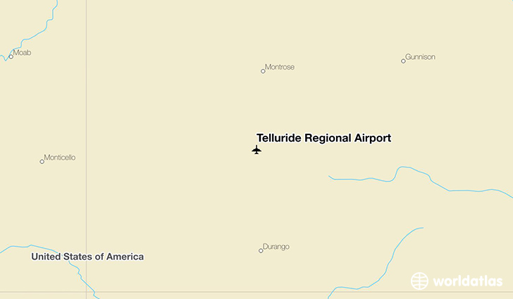 Telluride Regional Airport location on a map